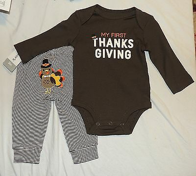 New Unisex Baby Carters First Thanksgiving Outfit Shirt Pant Size 3M Turkey Rear