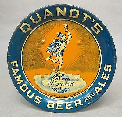 vintage QUANDT'S FAMOUS BOTTLED BEER & ALES Troy New York tin litho tip tray