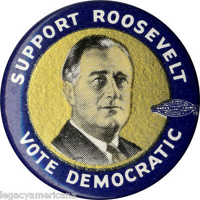 1934 Midterm Elections SUPPORT Franklin ROOSEVELT Celluloid Picture Button