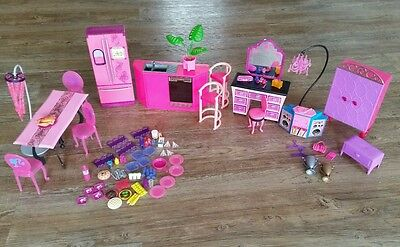 Barbie Dollhouse Furniture Kitchen Range Refrigerator Food Bedroom Dining 89 Lot
