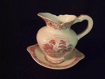 Charming Vintage Small Pink Transferware Pitcher And Basin
