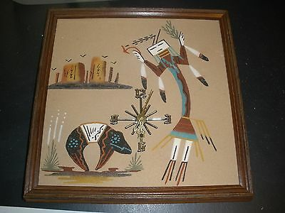 NATIVE AMERICAN INDIAN SAND ART WALL CLOCK SOUTHWEST works perfect