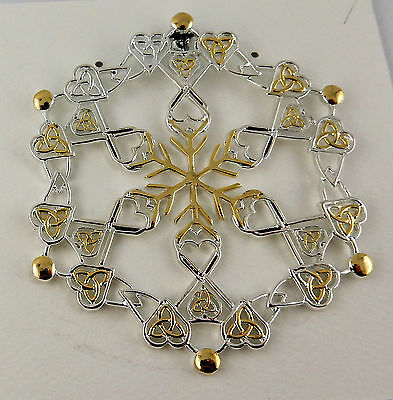 Silver Irish Celtic Trinity Knots Snowflake Christmas ornament with hearts