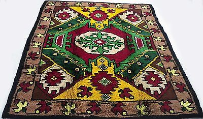 "Antique European vintage handmade hand-knotted thick rug 63"" x 81"" 100%wool  #30"