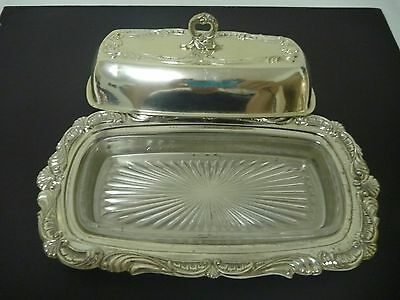 Silver metal butter dish with glass insert
