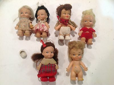 6 Adorable Vintage 1965 To 1967  Pee-Wees Dolls - Too Cute - Must See These!!!!!