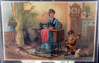 Household Sewing Machine Company Victorian Trade Card 1880s Providence RI