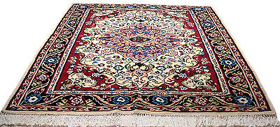 "Antique vintage unique handmade hand-knotted thick rug  88"" X 122"" 100%wool  #28"