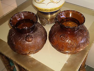 Vintage Pair of Art Deco Brown/Amber Glass Lamp Shades