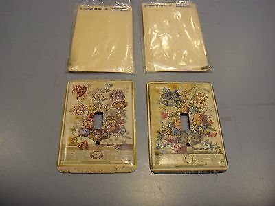 2 New Botanical Print Metal Switchplates - 3 1/2 X 5 Inches