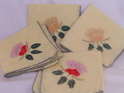 "4 vintage Cotton Linen yellow Hand Stitched embroidery Flower 8"" square napkins"