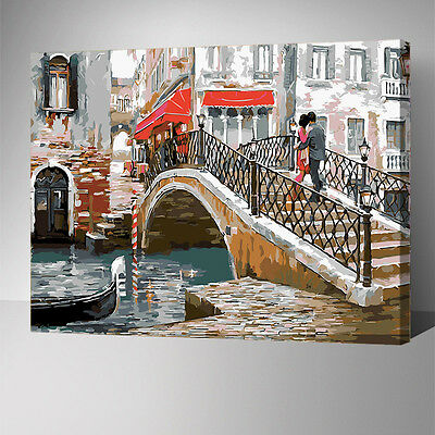Framed Painting by Number kit Italy Venice's Bridge Chance Meeting City YZ7446