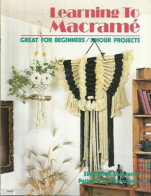 Learning to Macrame Beginner's Vintage Pattern Book 3-Hour Projects NEW