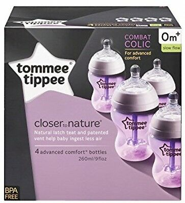 Tommee Tippee Closer To Nature Advanced Vented Bottles, 260 Ml/9 Floz- Pack Of 4