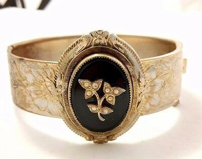 Antique/vintage Gold Filled Agate & Seed Pearls Bangle Bracelet By Coro