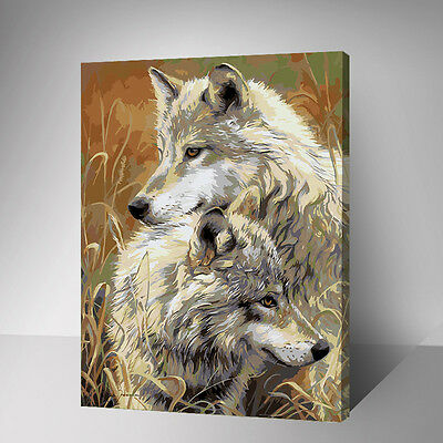 Framed Painting by Number kit Hyenas In Deep Grass Wolves Wild Animal DIY YZ7569