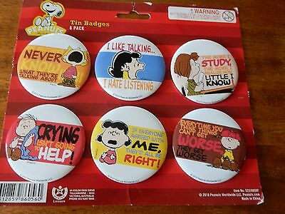 Set of 6 Peanuts Snoopy & Charlie Brown Tin Badges 2010