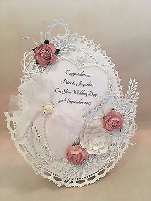 Handmade Wedding Card  **PERSONALISED**  Gorgeous White Design With Roses & 3D