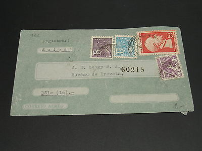 Brazil 1940s airmail cover to Switzerland -flap *9102