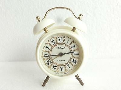 "1970'sSERVICED Vtg RETRO RUSSIAN USSR SMALL ALARM CLOCK ''SLAVA"" Two Bells Shape"