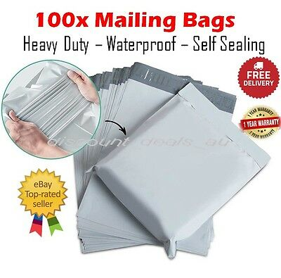 100x Medium Mailing Postage Courier Satchel Packaging Bags Poly Plastic 25x33cm