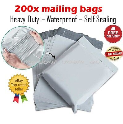 200x Medium Mailing Postage Courier Satchel Packaging Bags Poly Plastic 25x33cm