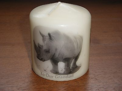 Candle Picture Rhino Can be Personalised Birthday Dad  Brother Friends Love New