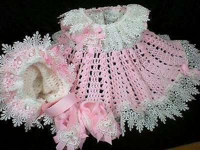 Romany Blinged Baby Girl hand crochet 3 piece Dress Set - Pink - Size 3-6 months