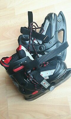 Sfr Childs Ice Skates Boots - Black And Red - Size 9-12