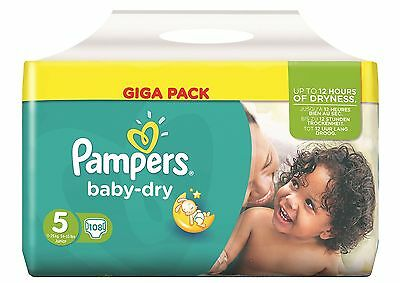 Pampers Baby Dry Size 5 Nappies - Pack Of 108 Nappies