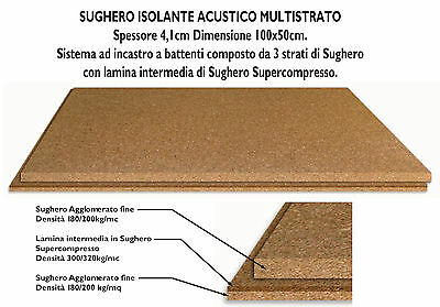 Isolante In Sughero 4,1Cm A Battenti Con Lamina Sughero Supercompresso 100X50Cm