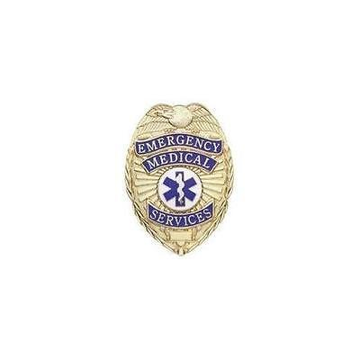 EMS EMT PARAMEDIC Gold Badge Shield with Full Color Star of Life Seal