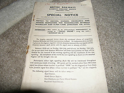 British Railways LMR Special Staff Notice with diagrams 1958 rare & collectable!