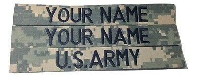 3 piece ACU Custom Name Tape & US ARMY Tape set, Sew-On - US Army Military