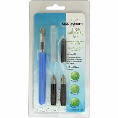 Manuscript Calligraphy Set 3 Nibs And 2 Inks Cartridge Pen Stationery Supplies