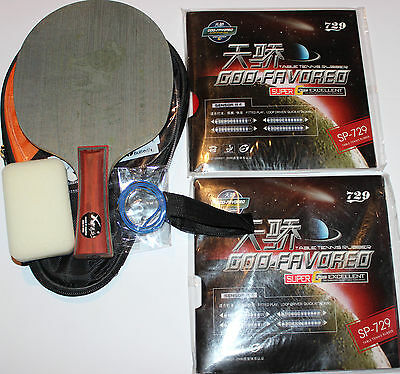 Allround+ Custom-made Table Tennis Bat: Full Wood Lion + SP-729 Rubbers, Melbour