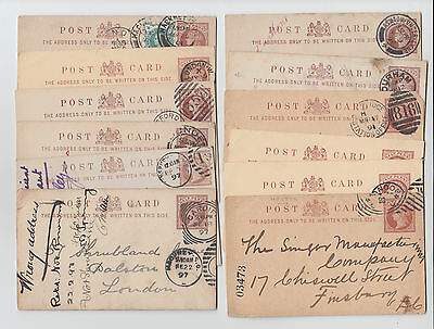 Lot of 12 - GB QV Postal Stationery Postcards - Posted 1881 to 1901