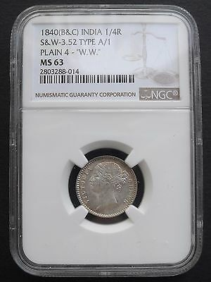 1840  India 1/4 Rupee, NGC MS 63 , nice silver coin.