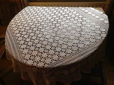 vintage white crochet table cloth