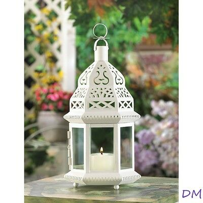12 Creamy White Moroccan Style Lanterns Clear Glass Panels Wedding Centerpieces