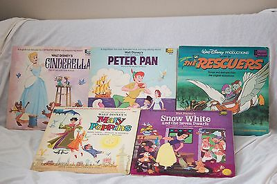 5 Vintage Disney Classic Story and Soundtrack Records