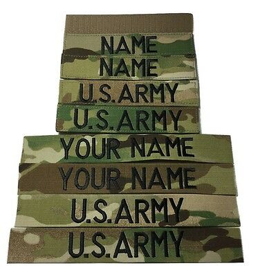 4 piece Multicam OCP Custom Name & US Army Tape set, with Fastener or Sew-On