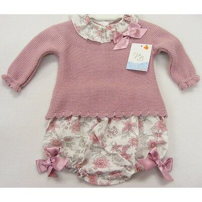 Baby Girls Spanish Knitted Frilly Neck Top Floral Jampants Dusky Pink Various