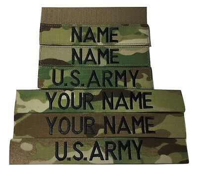 3 piece Multicam OCP Custom Name & US Army Tape set, with Fastener or Sew-On