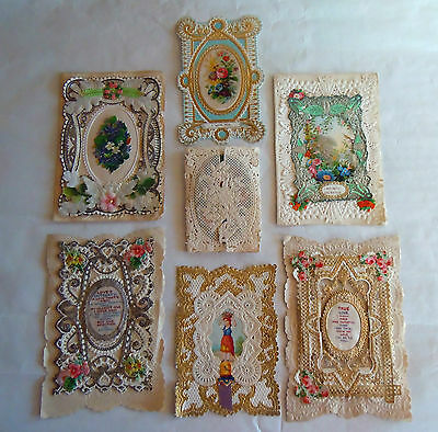 A Lovely Collection of Seven 1800s Victorian Valentine's Day & Other Cards