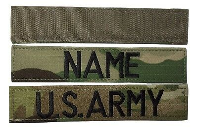 2 piece Multicam OCP Name & US ARMY Tape set, with Fastener - Military
