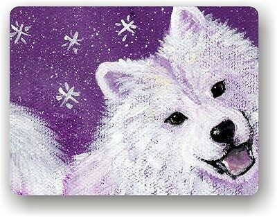CERAMIC TILE MAGNET RECTANGULAR SAMOYED WISH UPON A SNOWFLAKE  by Amy Bolin