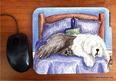MOUSE PAD OES OLD ENGLISH SHEEPDOG THE KING ON HIS THRONE  BY  Amy Bolin