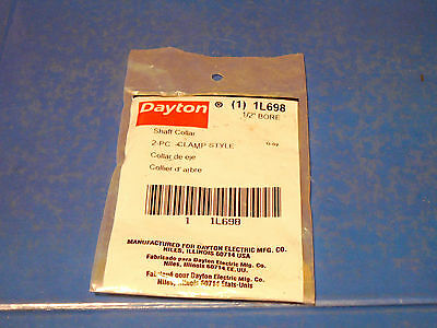 """Dayton 1L698 Shaft Collar 1/2"""" Bore 2-PC Clamps Style/ New Old Stock"""