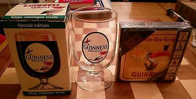 Official Merchandise Guinness set of Six 6 Cork Backed Coasters BNIB + Goblet